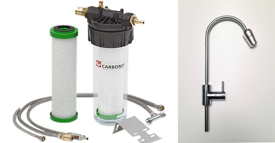 Carbonit Wasserfilter mit Filterpatrone, Spezialwasserhahn und Kristall-Wasserwirbler Silber Bergkristall.